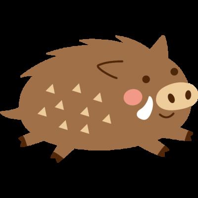 走っている猪のイラスト