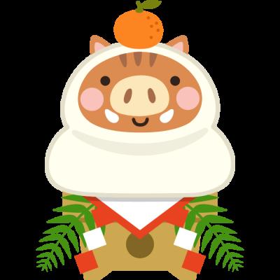 鏡餅になった猪のイラスト