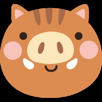 かわいい猪の顔のイラスト