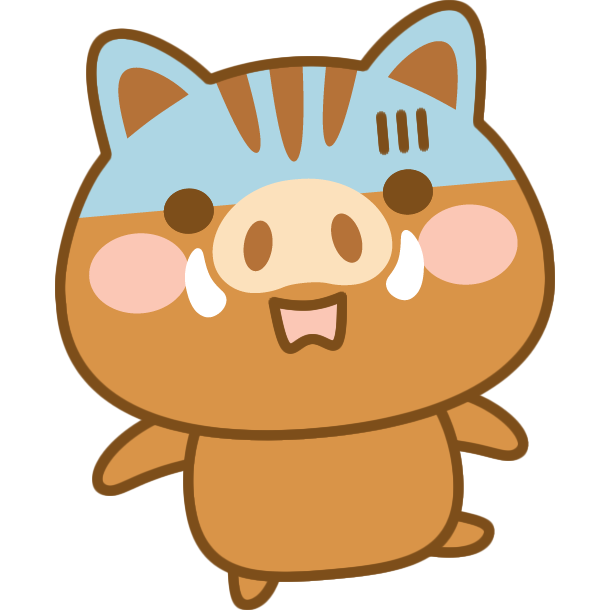 驚きの表情をする猪のイラスト