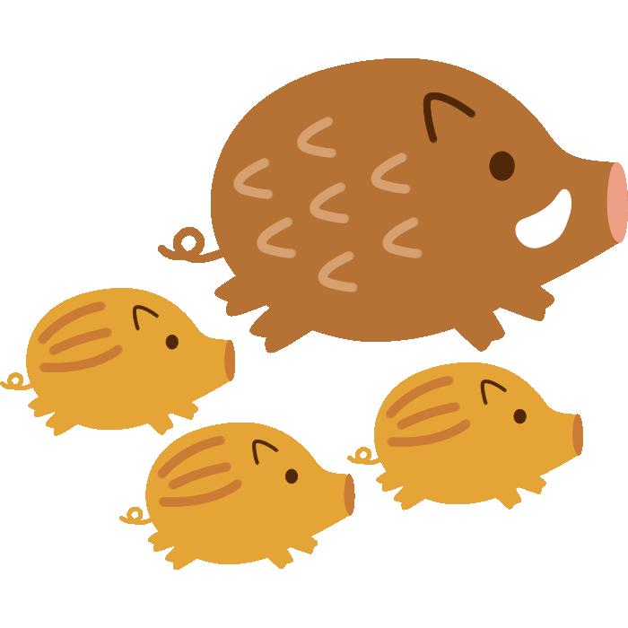 かわいい猪とうりぼうのイラスト