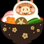 お雑煮の餅になった猪のイラスト