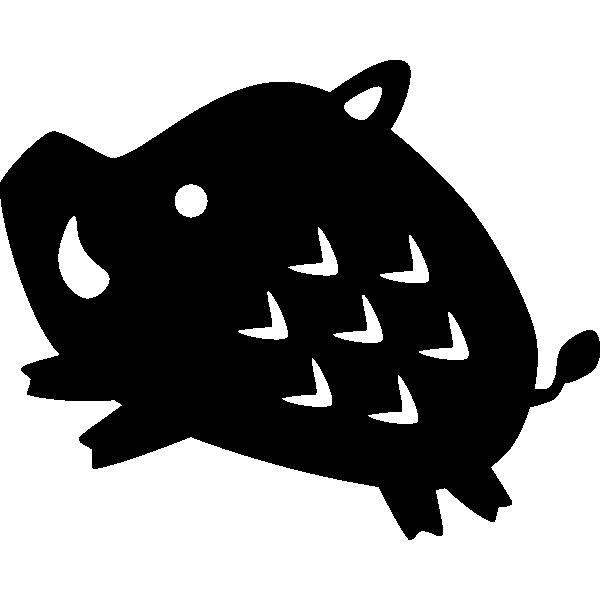 猪のシルエット(白黒)イラスト