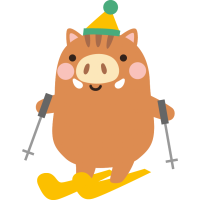 スキーをする猪のイラスト