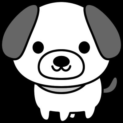 犬のイラスト(白黒)