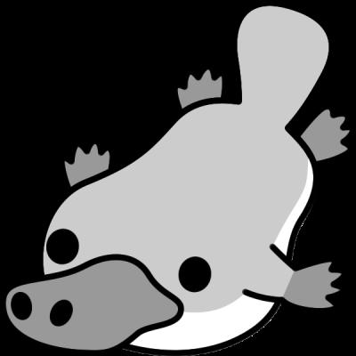 カモノハシのイラスト(白黒)