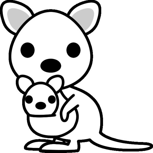 カンガルーのイラスト(白黒)