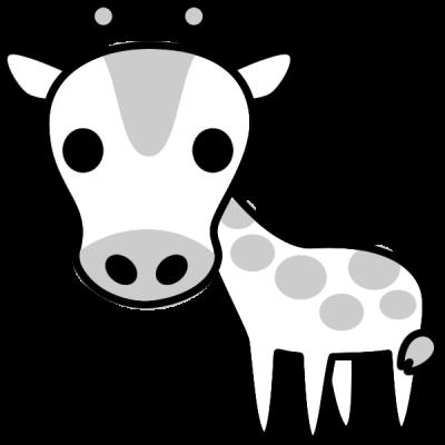キリンのイラスト(白黒)
