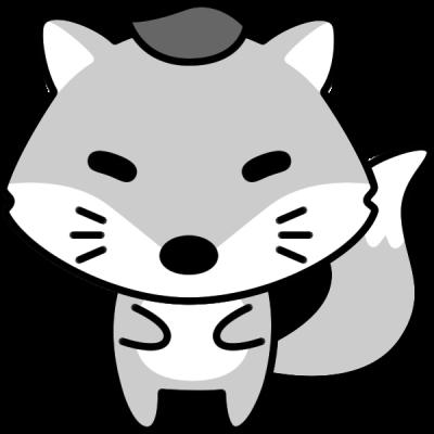 キツネのイラスト(白黒)