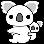 コアラのイラスト(白黒)