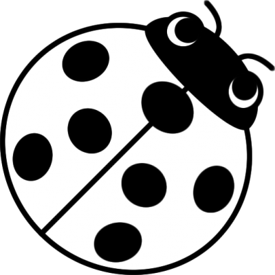 てんとう虫のイラスト(白黒)