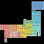 日本地図のデフォルメイラスト<カラー:県庁所在地名入り>
