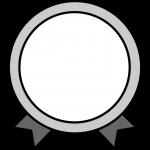リボンがついたメダルイラスト(白黒)