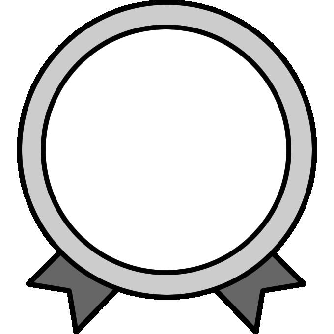 リボンがついたメダルイラスト白黒 無料フリーイラスト素材集