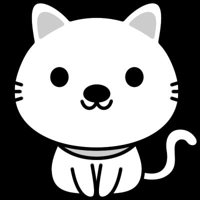 猫のイラスト(白黒)