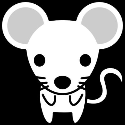 ねずみのイラスト(白黒)