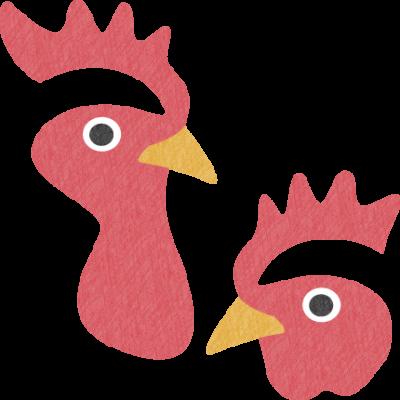 鶏の顔のイラスト(オス・メス)