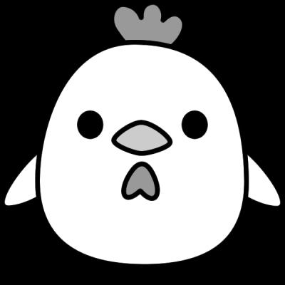 鶏のイラスト(白黒)