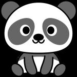 パンダのイラスト(白黒)