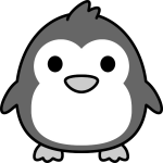 ペンギンのイラスト(白黒)