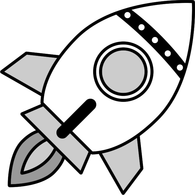 ロケットのイラスト(白黒)