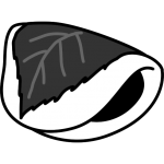 桜餅の白黒イラスト(関東風/長命寺)