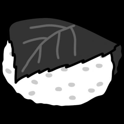 桜餅の白黒イラスト(関西風/道明寺)