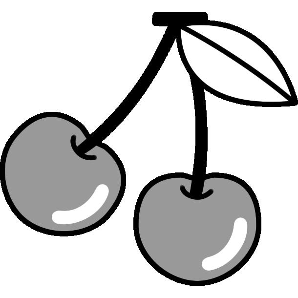 さくらんぼのイラスト(白黒)