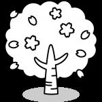 桜の木のイラスト(白黒)