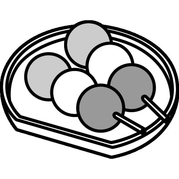 三色団子のイラスト(白黒)