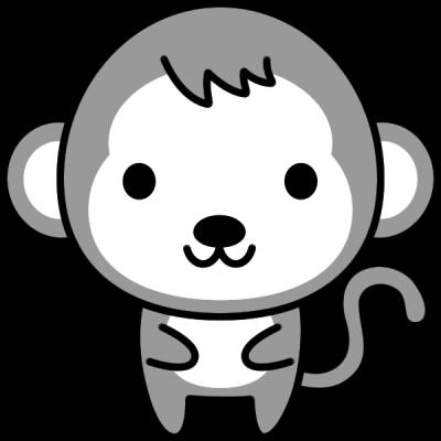 猿のイラスト(白黒)