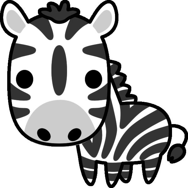 シマウマのイラスト(白黒)