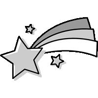 流れ星のイラスト(白黒)