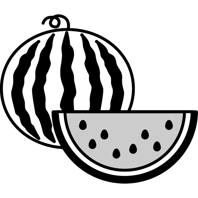スイカのイラスト(白黒)