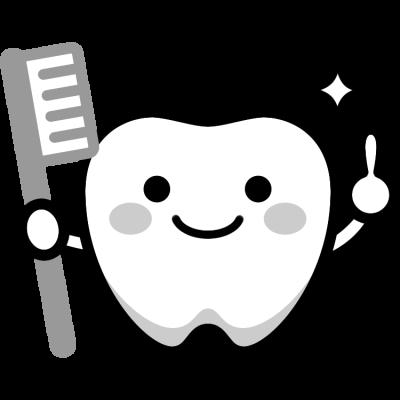 歯のキャラクターイラスト(白黒)