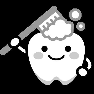 歯磨きのイラスト(白黒)