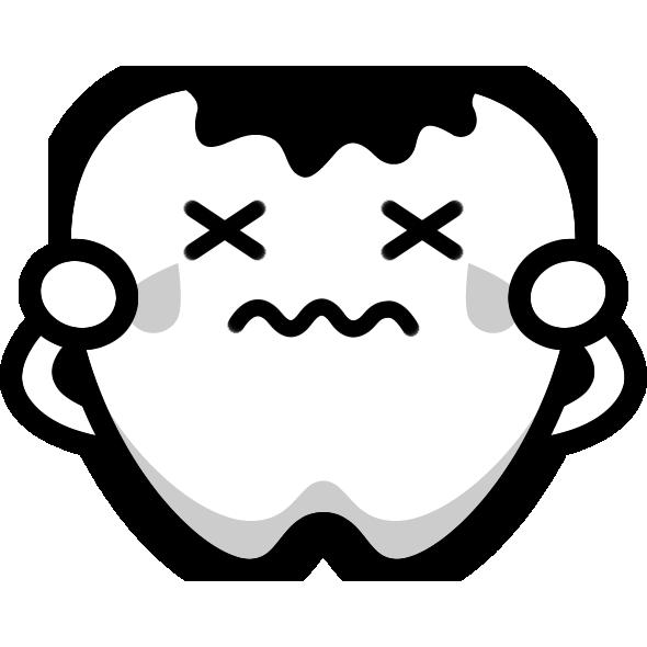 虫歯のイラスト(白黒)