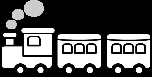 列車のイラスト(白黒)