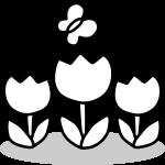 チューリップのイラスト(白黒)