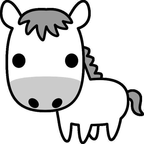 馬のイラスト(白黒)