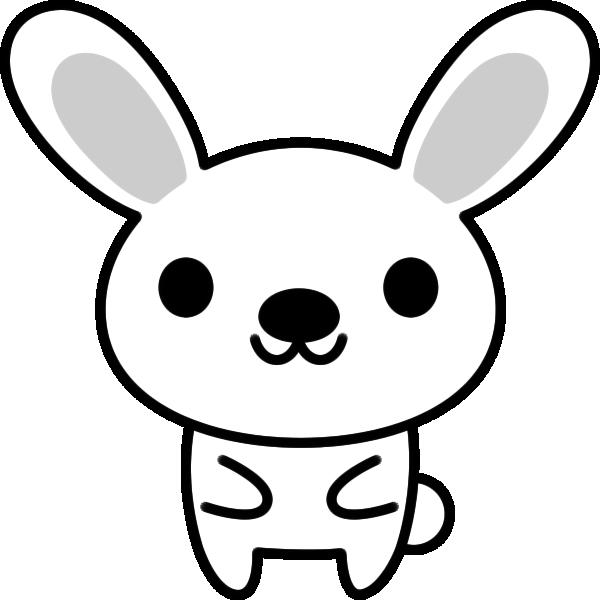 うさぎのイラスト(白黒)