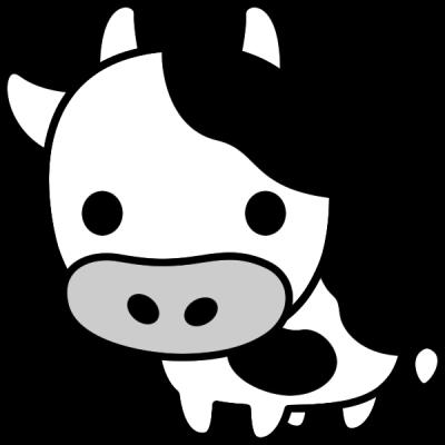 牛のイラスト(白黒)