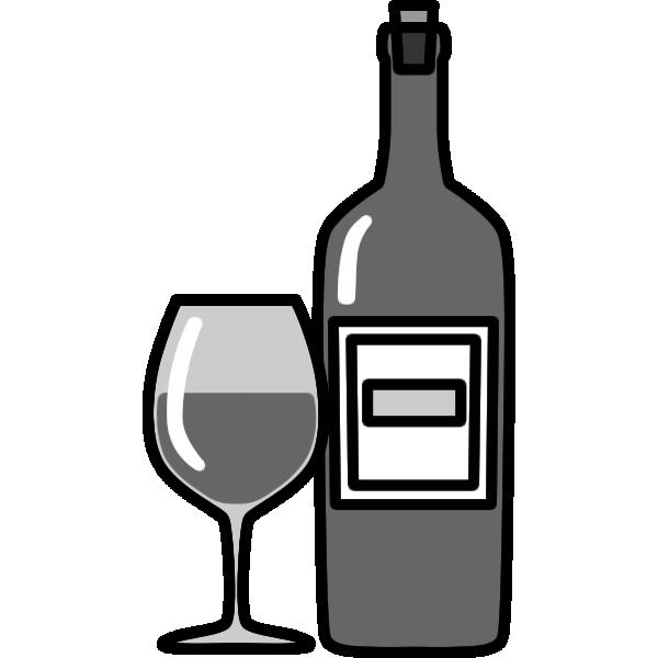 ワインのイラスト(白黒)