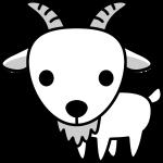 ヤギのイラスト(白黒)