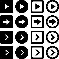 矢印アイコンイラスト(白黒・シルエット)