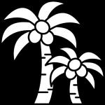ヤシの木のイラスト(白黒)
