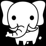 ぞうのイラスト(白黒)