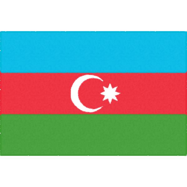 アゼルバイジャンの国旗のフリーイラスト素材
