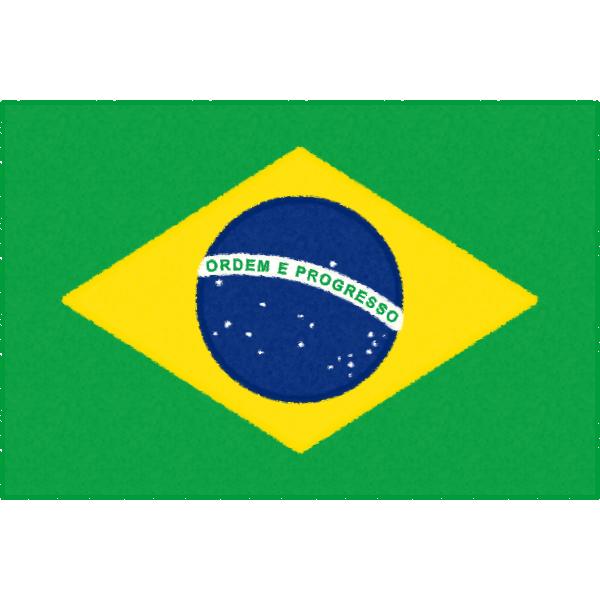 ブラジルの国旗イラストフリー素材