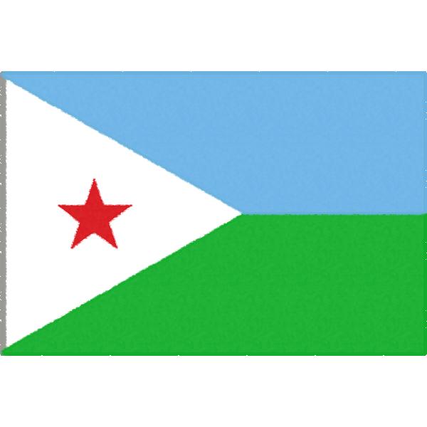 ジブチの国旗イラストフリー素材